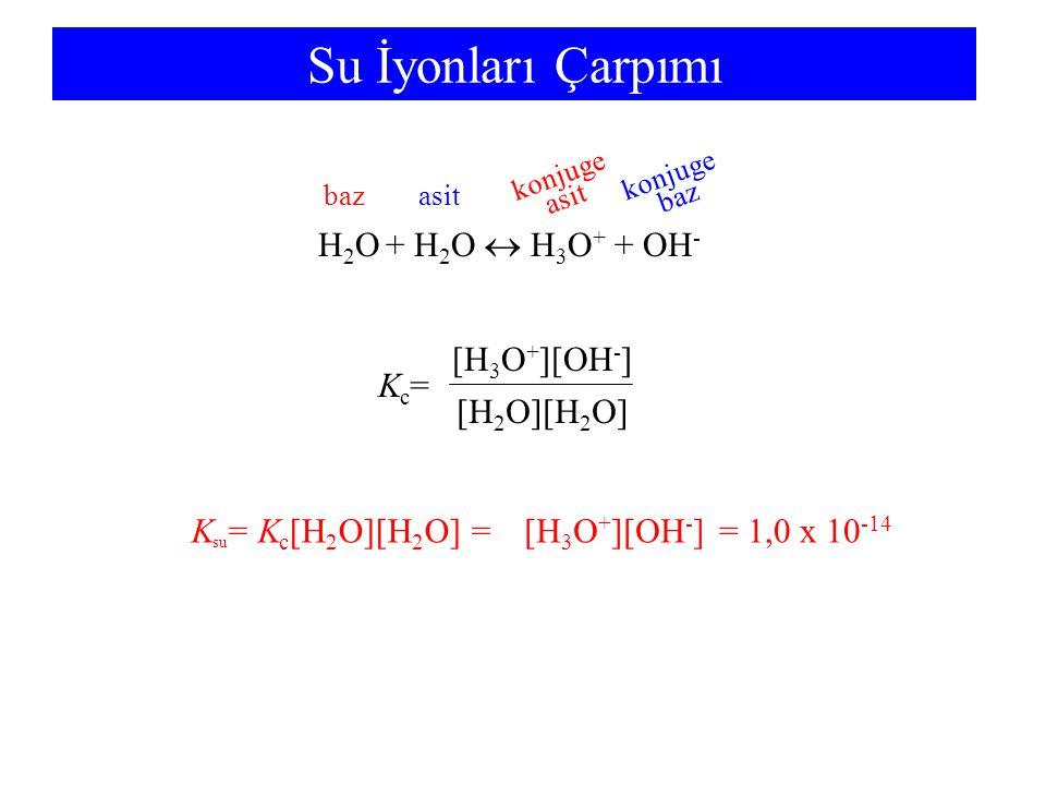 Su İyonları Çarpımı H2O + H2O  H3O+ + OH- Kc= [H2O][H2O] [H3O+][OH-]